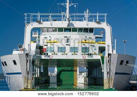 Zadar, Croatia - July 20, 2016: Jadrolinija ferry boat in Gazenica port in Zadar, Croatia. Car ferry boats linking the islands to mainland