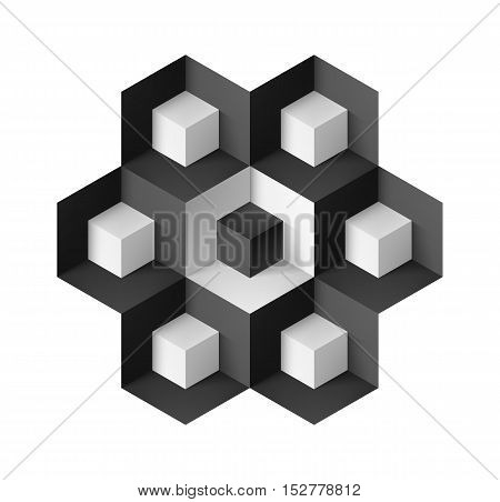 Abstract geometric object with cubes on white