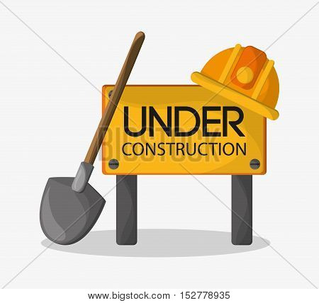 Helmet and shovel icon. Under construction work repair and progress theme. Colorful design. Vector illustration