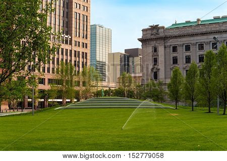 The lawn and concert seats in downtown Cleveland's newly renovated Public Square