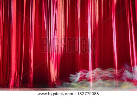 Red Velvet Curtains And Motion.