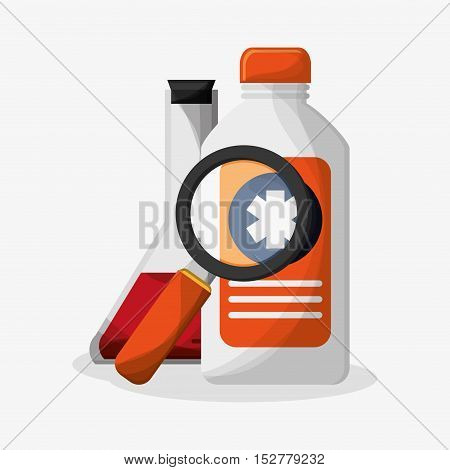 Medicine bottle and lupe icon. Medical and health care theme. Colorful design. Vector illustration