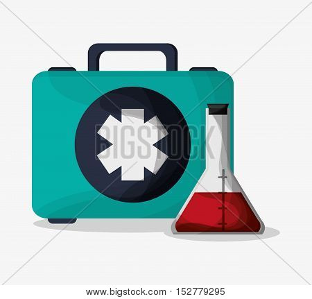 Flask and medical kit icon. Medical and health care theme. Colorful design. Vector illustration