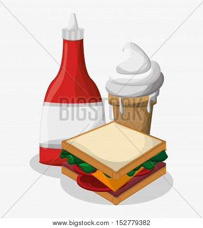 Sandwich and ice cream icon. Fast food menu and market theme. Colorful design. Vector illustration