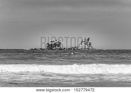 Rocky Island At Pacific Ocean Santa Elena Ecuador