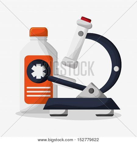 Medicine bottle and microscope icon. Medical and health care theme. Colorful design. Vector illustration