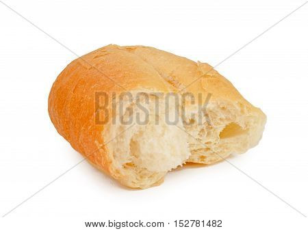 Torn into half whitebread roll on isolated white background