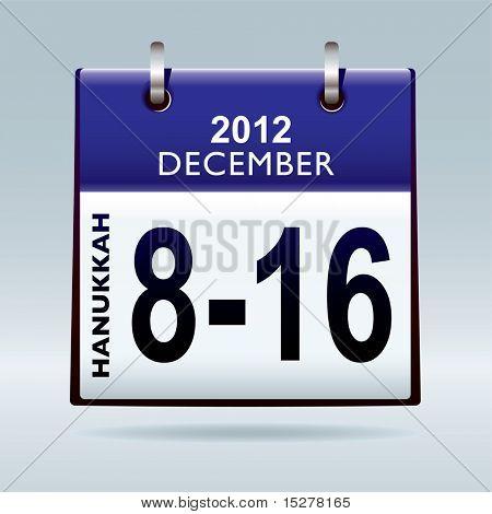 Jewish Hanukkah 2012 dates in december with blue calendar