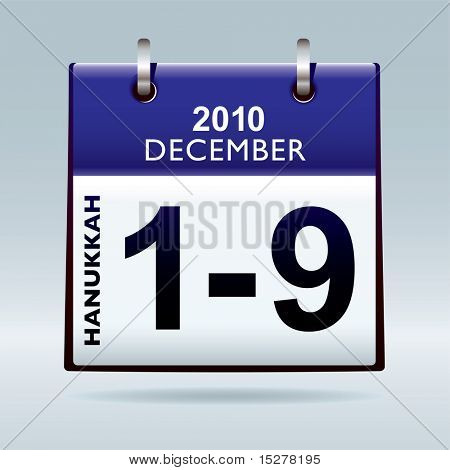 Jewish hanukkah 2010 dates in december with blue calendar