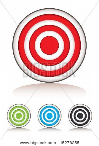 Collection of targets with selection of colors and shadow