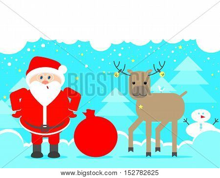 Santa Claus looking up. Christmas background with reindeer and Santa Claus. Vector