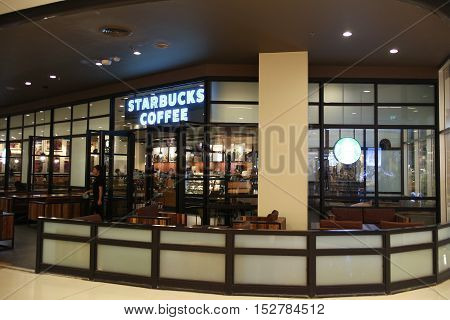 CHIANGMAI THAILAND -OCTOBER 21 2016: Starbucks coffee Inside of Central Festival Chiangmai. New Business Plaza of Chiangmai. About 3 Km. from Chiangmai City Thailand