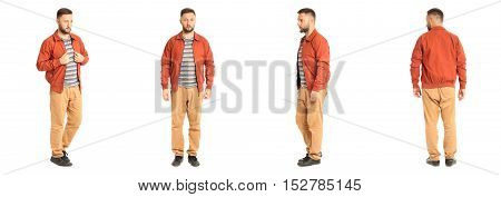 Young Stylish Man In A Coral Jacket Isolated On White