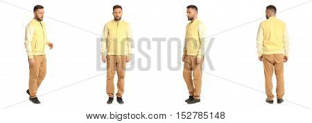 Young Stylish Man In A Yellow Jacket Isolated On White