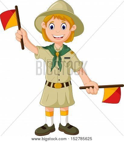 funny a girl scout cartoon playing semaphore