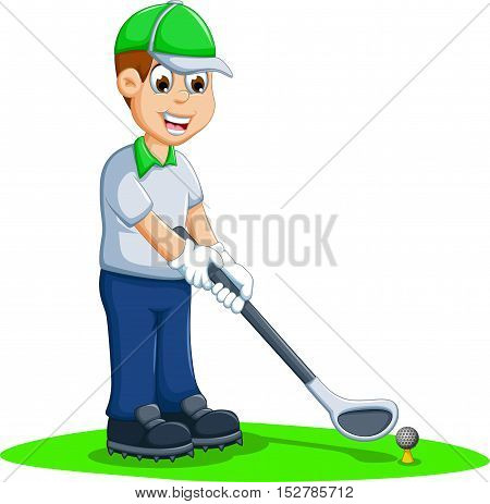 funny men cartoon playing golf in green grass