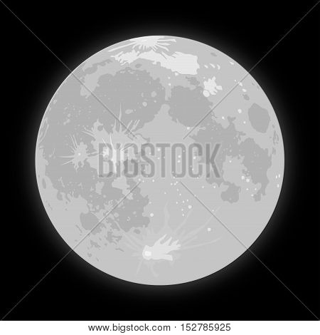 Vector realistic background Starry night sky Stars. Vector Moon. Crater.