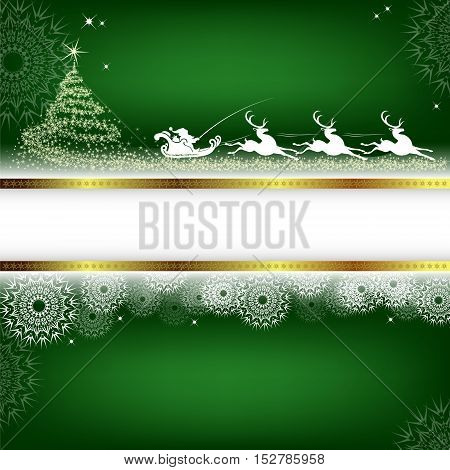 Christmas green background with Christmas tree and Santa Claus with sleigh reindeer