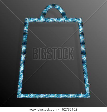 Frame made of Blue sequins in the form shopping bag. Mosaic, sequins glitter sparkle stars. Sale, Offer.