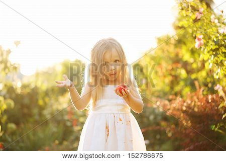 Nice little girl eating a tomato. Girl soiled white dress in tomato juice. Sunset illuminates the flowing hair.