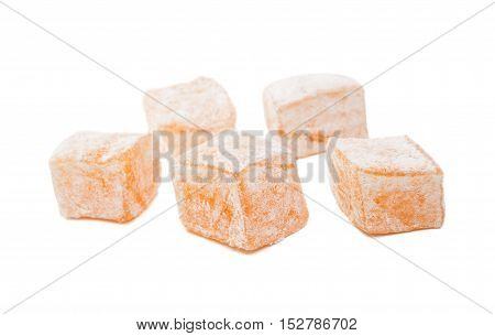 Turkish delight rahat sweets isolated on white background