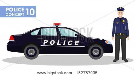 Detailed illustration of police car and police officer in flat style on white background.