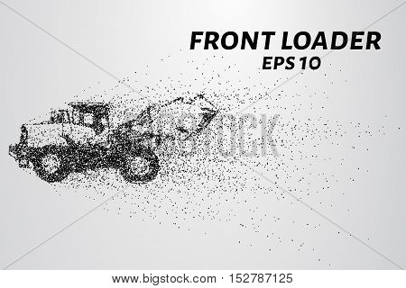 Front loader from the particles. Front loader isolated on white background. Front loader is scattered on molecules. Vector illustration