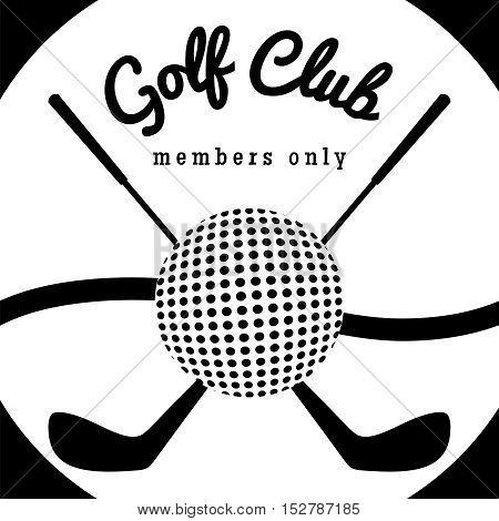 Golf club sport poster. Black and white golf emblem vector