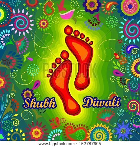 Vector design of Goddess Lakshmi foot print for Happy Diwali prayer festival of India in Indian art style
