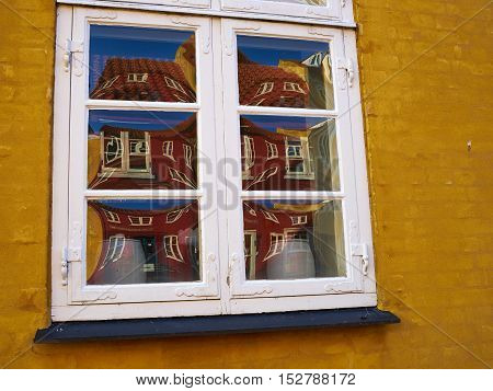 Details of colorful old traditional style city urban house Svendborg Funen Denmark