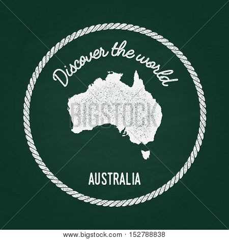 White Chalk Texture Vintage Insignia With Commonwealth Of Australia Map On A Green Blackboard. Grung