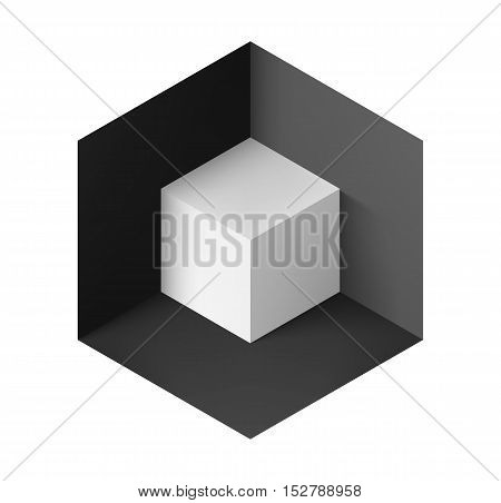 Abstract geometric background with white cube in black corner
