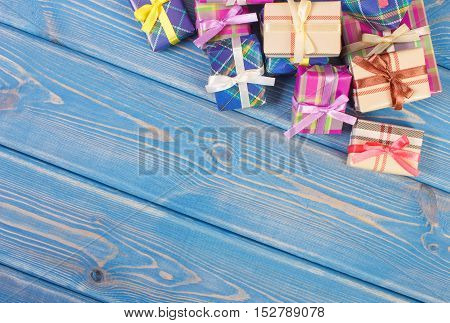Wrapped Colorful Gifts With Ribbons For Christmas Or Other Celebration, Copy Space For Text