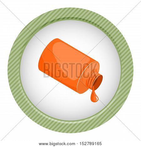 Orange paint in bank. Vector illustration in cartoon style