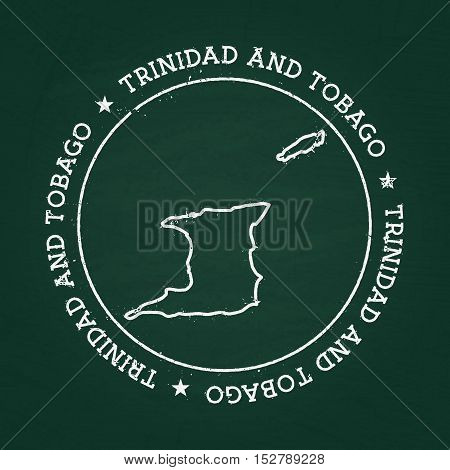 White Chalk Texture Rubber Seal With Republic Of Trinidad And Tobago Map On A Green Blackboard. Grun