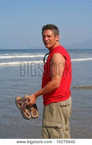 Handsome man on beach
