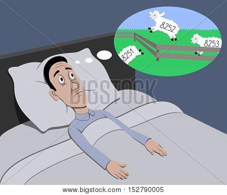 Insomnia - Vector illustration - EPS .