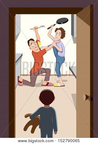 Parents fighting - Vector illustration - EPS .