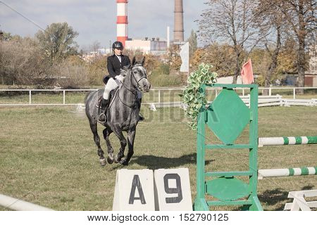 Gomel, Belarus - October 16, 2016: Jumping On The Biathlon Among Boys And Girls