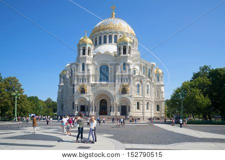 SAINT PETERSBURG, RUSSIA - JULY 18, 2015: Sunny July day in Anchor Square near St. Nicholas Cathedral. Religious landmark  of the city Kronstadt