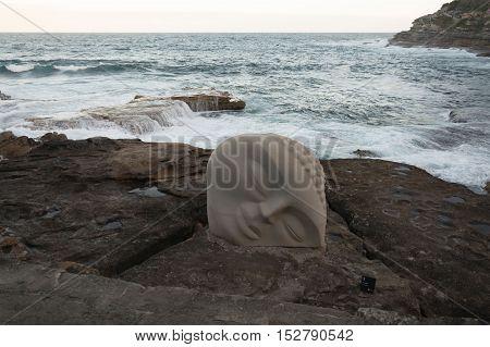 5 November 2013: Bondi Beach, Sydney, Australia - Exhibit Contrasting With The Sea Waves At Sculptur