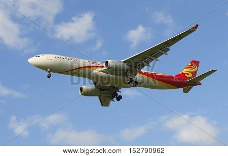 SAINT PETERSBURG, RUSSIA - JULY 24, 2015: The Airbus A330-343 airline Hainan Airlines before landing in Pulkovo airport