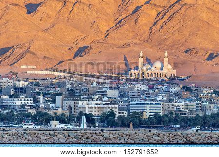 The biggest Jordanian mosque - Al-Sharif Al-Hussein Bin Ali, Aqaba city, Jordan.