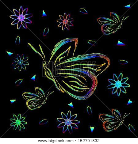 Greeting card with flowers and butterflies in neon. Butterflies and flowers and colored fragments on a black background