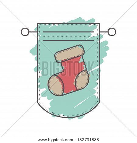 pennant with christmas sock decoration inside. sketch and drawn design. vector illustration