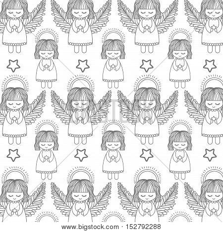 cute angel and star shape icon background. draw and sketch design. vector illustration