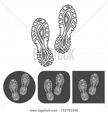 Sport shoe icon - vector icons set, black and white