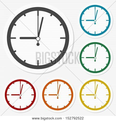 Multicolored paper stickers - Clock on gray background
