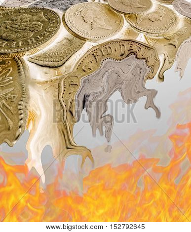 Melting British pound coins over hot flames