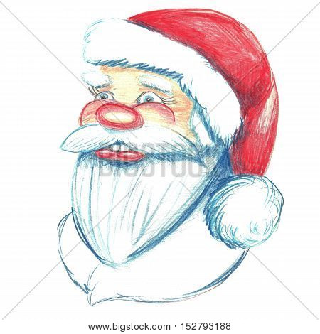 Hand drawn portrait of Santa Claus. Watercolor pencils illustration. Isolated on white.